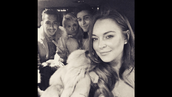 """Paris Starts Now,"" said actress Lindsay Lohan, right, in this selfie she posted to Instagram on Friday, March 6."