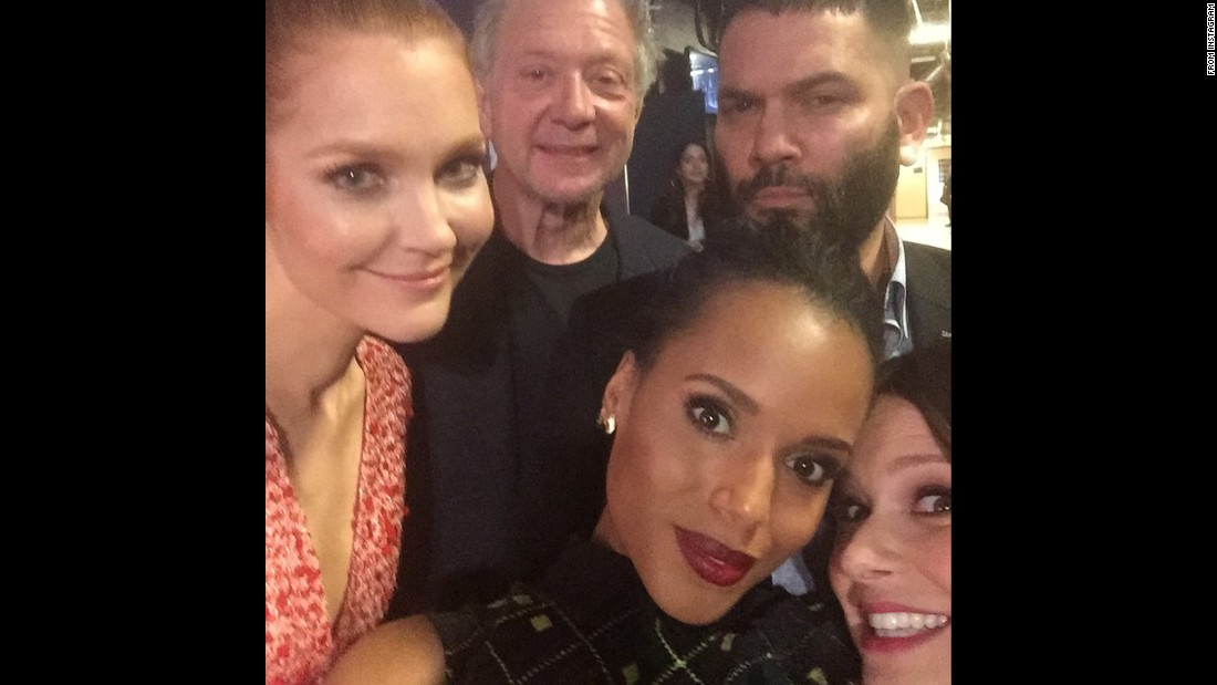 "Actress Kerry Washington, bottom left, snaps a photo <a href=""https://instagram.com/p/z_Z8j5gBio/?modal=true"" target=""_blank"">with her ""#ScandalFam""</a> during the PaleyFest event in Los Angeles on Sunday, March 8."