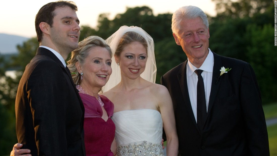 Marc Mezvinsky, Hillary Clinton, Chelsea Clinton and former U.S. President Bill Clinton pose during the wedding of Chelsea Clinton and Mezvinsky at the Astor Courts Estate in July 2010.