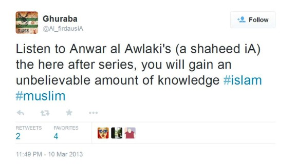Prosecutors said the second Twitter account is evidence that Tsarnaev led a double life. By day, he was a slacker college sophomore. By night, he was a wannabe jihadist, posting on the account @Al_firdausiA. In one tweet, he urged people to listen to radical cleric Anwar al-Awlaki