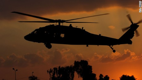 A U.S. Army Black Hawk helicopter lands in Baghdad, Iraq, Feb. 13, 2008.