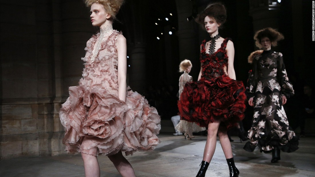 The beautiful clothes shown at Alexander McQueen evoked flowers in bloom, fading, and in decay.