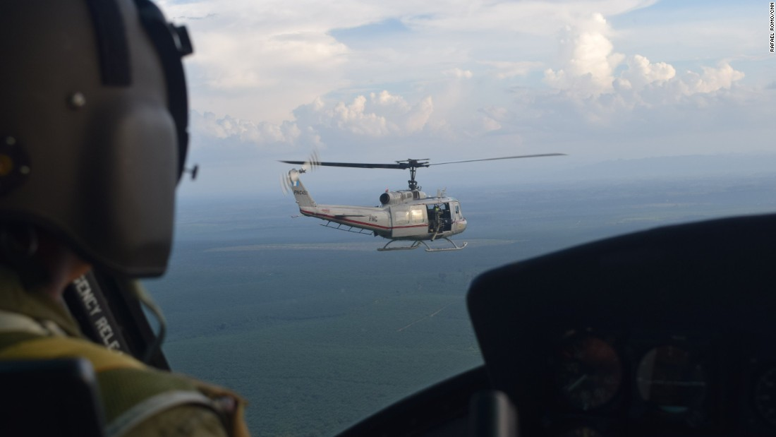 Guatemalan National Civil Police helicopters fly over Petén Province in northern Guatemala in search of illegal runways used by drug traffickers and smugglers.