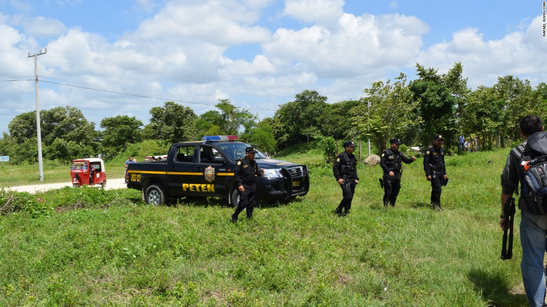 Guatemalan national police forces do surveillance work in Las Brisas, a village in the municipality of Malacatán in the San Marcos province.