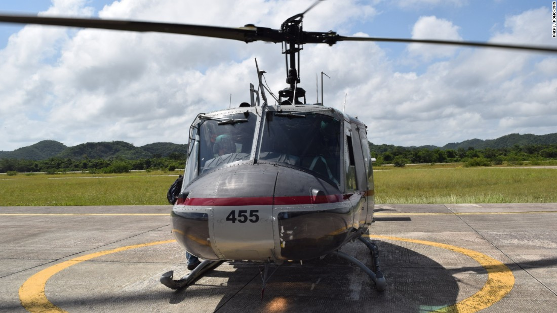A Guatemalan National Civil Police helicopter at the Air Force Base in Santa Elena.
