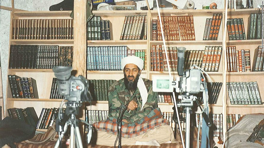 When issuing pronouncements, bin Laden often sat in front of shelves of Islamic books to convey an intellectual image.