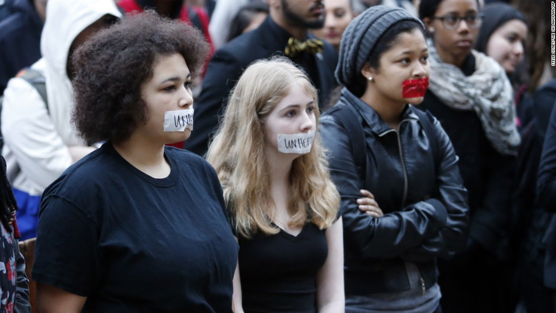 University students protest the racist comments on March 9.