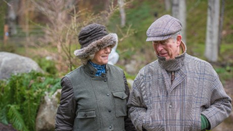 The Duchess of Cornwall and Prince Charles take a stroll on a chilly January morning.