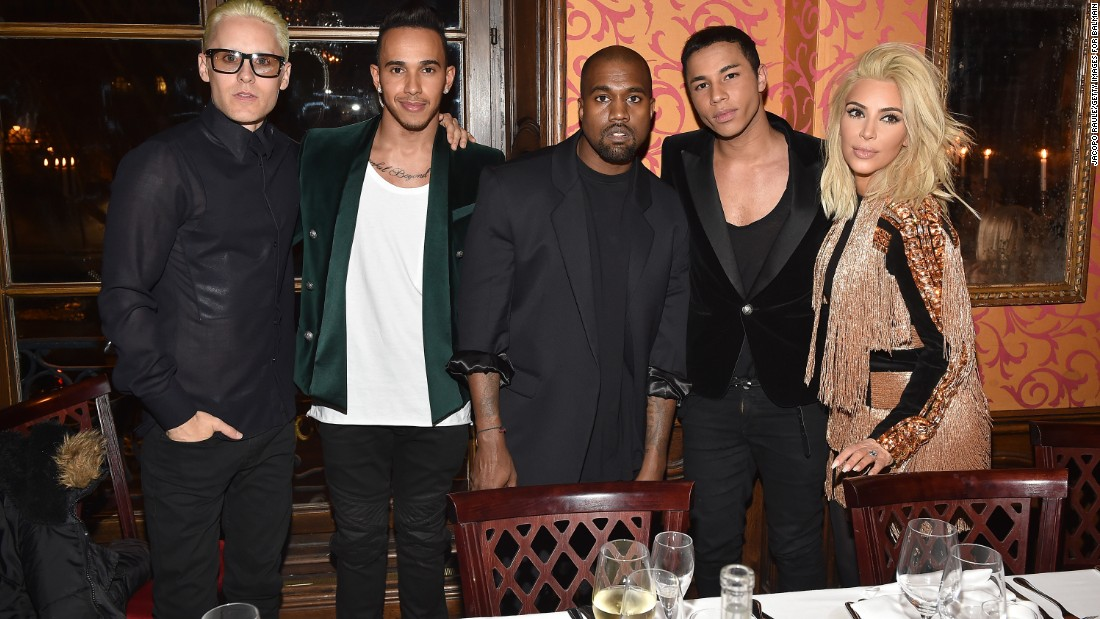 Hamilton has been making a name for himself in fashion circles this season. Here he is during Paris Fashion Week in March with celebrities Jared Leto, Kanye West, Olivier Rousteing and Kim Kardashian.