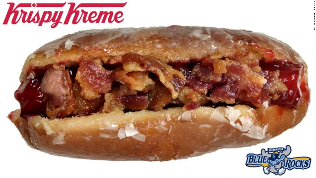 "Minor League Baseball's Wilmington, Delaware, Blue Rocks announced that its ballpark will begin offering a frankenfood concoction for the ages: A hot dog served inside a traditional Krispy Kreme glazed doughnut (raspberry jelly topping optional). The team is asking for fans' help <a href=""http://www.milb.com/news/article.jsp?ymd=20150311&content_id=112186394&fext=.jsp&vkey=news_t426&sid=t426"" target=""_blank"">naming the new doughnut dog</a>."