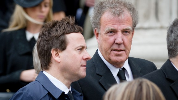 Sun newspaper editor Dominic Mohan and Jeremy Clarkson leave St Paul's Cathedral after former British prime minister Margaret Thatcher's ceremonial funeral in London in 2013.