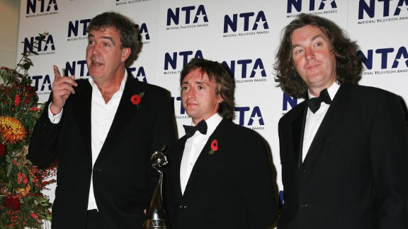 'Top Gear' presenters Jeremy Clarkson, Richard Hammond and James May pose with the award for Most Popular Factual Programme at the National Television Awards 2007 at the Royal Albert Hall. Syndicated in 214 countries and with an audience in excess of 350 million, it is the most viewed factual show in the world.