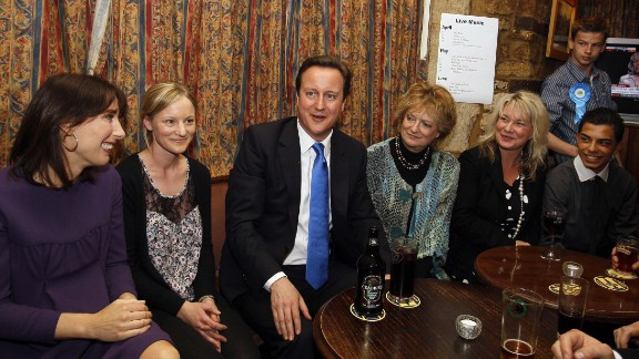 David Cameron and his wife Samantha stop for a drink in a pub during the 2010 general election. Chipping Norton lies within Cameron's constituency of Witney in Oxfordshire.
