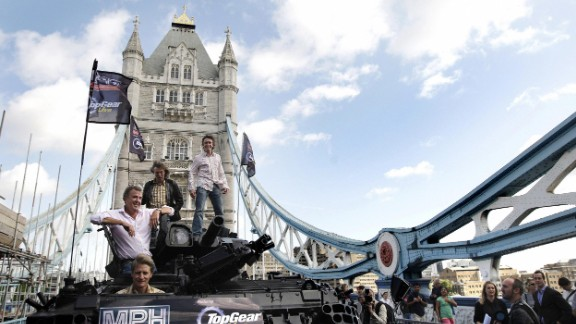 No strangers to wild publicity stunts, the Top Gear team crossed London's Tower Bridge on a tank in 2008 to promote their live show.