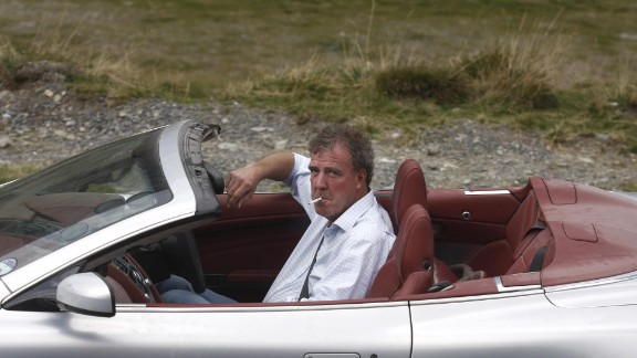 Clarkson drives an Aston Martin 300km northwest of Bucharest while filming Top Gear in 2009.