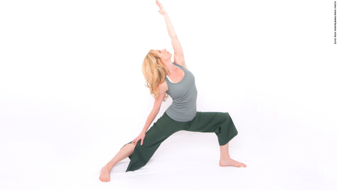 <strong>Reverse warrior: </strong>This enhances hip and shoulder mobility, opens the chest, strengthens and lengthens the core, promotes knee stability and increases leg strength and flexibility.