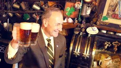 New York Senator Chuck Schumer (D-N.Y.) at McSorley's Ale House in New York City