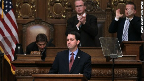 Wisconsin Governor Scott Walker delivers his budget address to a joint session of the legislature at the capitol March 1, 2011 in Madison, Wisconsin.
