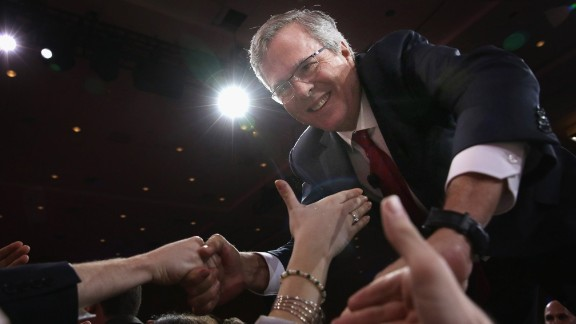 Former Florida governor Jeb Bush shakes hands with attendees after speaking at the 42nd annual Conservative Political Action Conference on February 27 in National Harbor, Maryland.