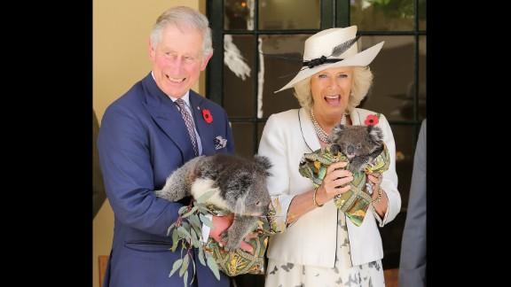 The royal couple hold koalas while visiting Australia in November 2012.