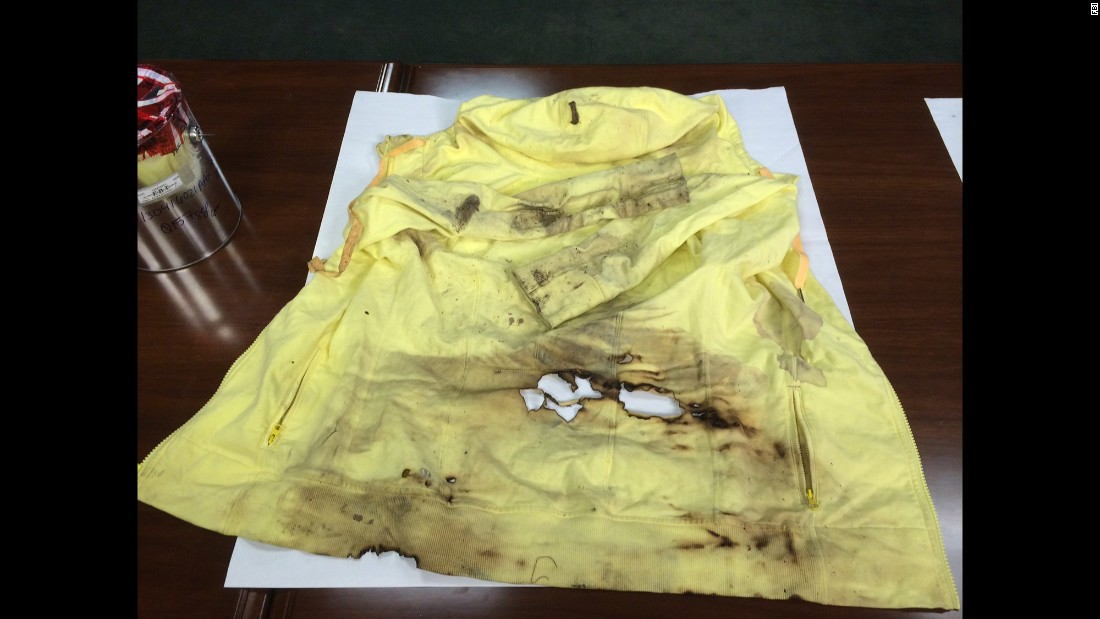 This burned tank top and yellow hoodie belonged to bombing survivor Jessica Kensky.
