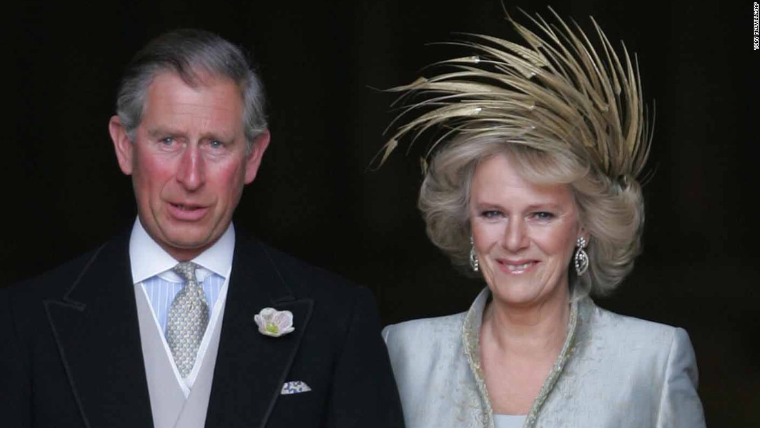 Charles and Camilla leave a prayer service on their wedding day in 2005.