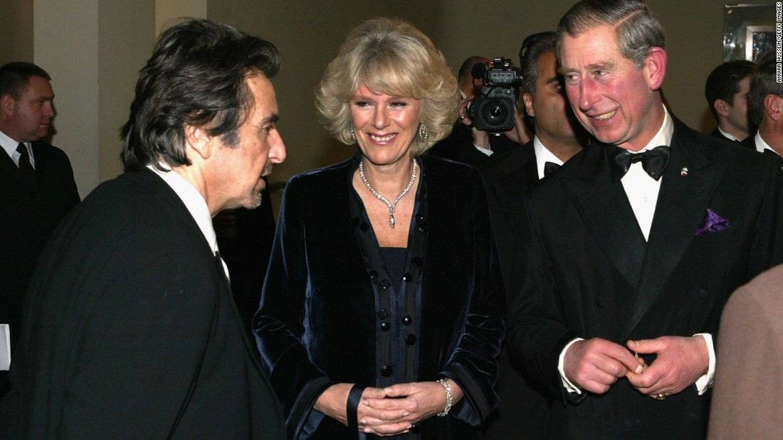 Charles and Camilla talk with actor Al Pacino in London in November 2004.