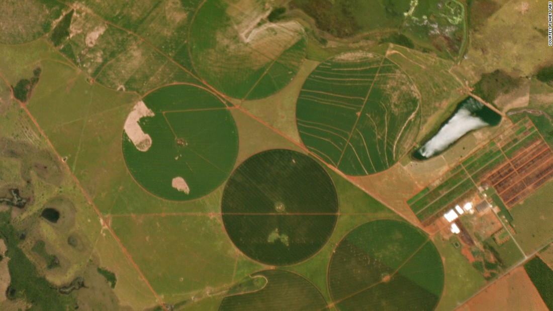 Central pivot irrigation in Brazil.