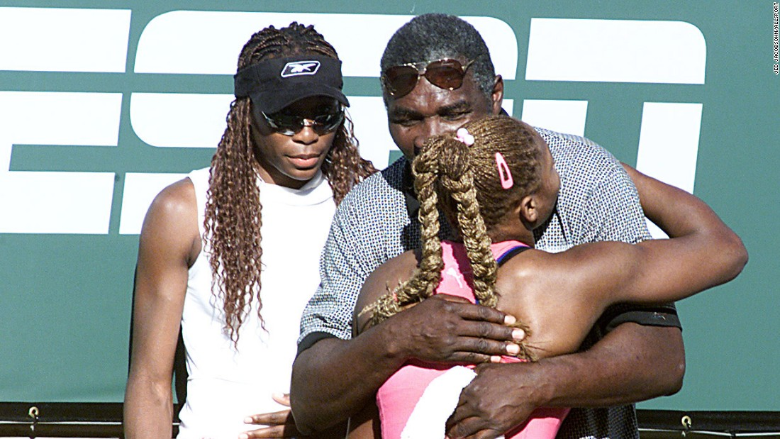 Serena Williams exchanged a hug with her dad after the final. Richard Williams shaped the careers of his two grand slam winning daughters from humble beginnings.