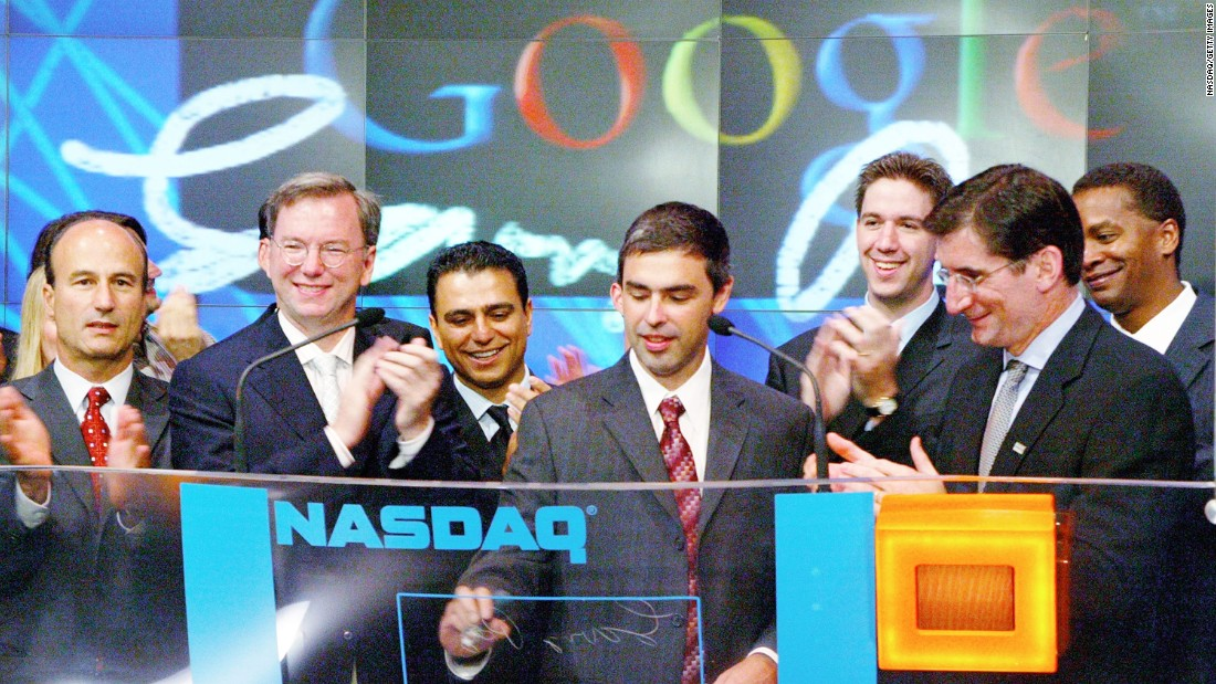 "Google went public on the NASDAQ stock exchange on August 19, 2004, with stocks debuting at $85 a share. The dot-com bust was still fresh in the minds of many at the time, and the IPO met with mixed reviews. ""I'm not buying,"" Apple co-founder Steve Wozniak told the New York Times at the time, predicting little chance the stock would go up. Google shares were trading at about $555 on Friday, March 13."