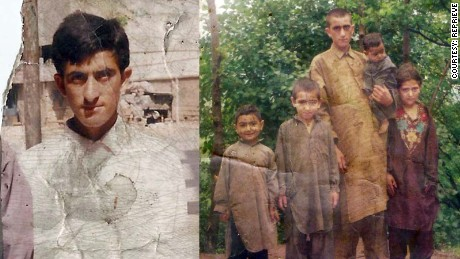Shafqat Hussain is at the left, and pictured with his family on the right.