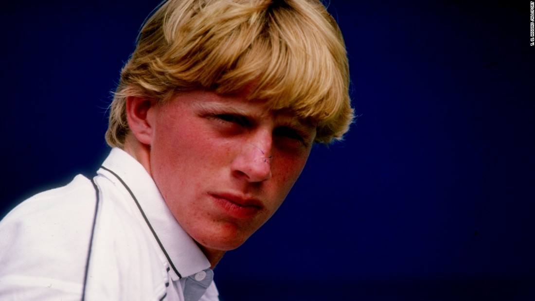 A young Boris Becker sporting a floppy fringe. In 1985, the German became the youngest-ever Wimbledon men's singles champion, aged just 17 years old.
