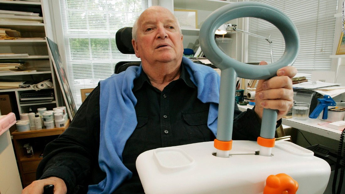 After Graves became paralyzed in 2003, he started designing more user-friendly health care products. This bathtub handle to help the handicapped and the elderly.