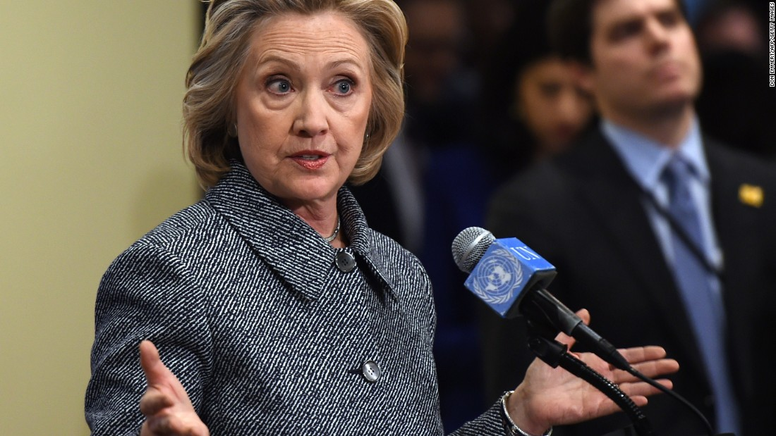 Hillary Clinton answers questions from reporters March 10, 2015 at the United Nations in New York. Clinton admitted that she made a mistake in choosing, for convenience, not to use an official email account when she was secretary of state.