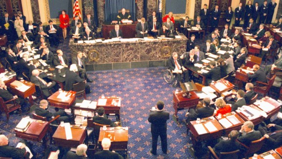 The Clinton impeachment trial on the Senate floor in Washington D.C. on February 12, 1999. Prompted by the Lewinsky sex scandal, the United States Senate acquitted him on February 12, 1999.