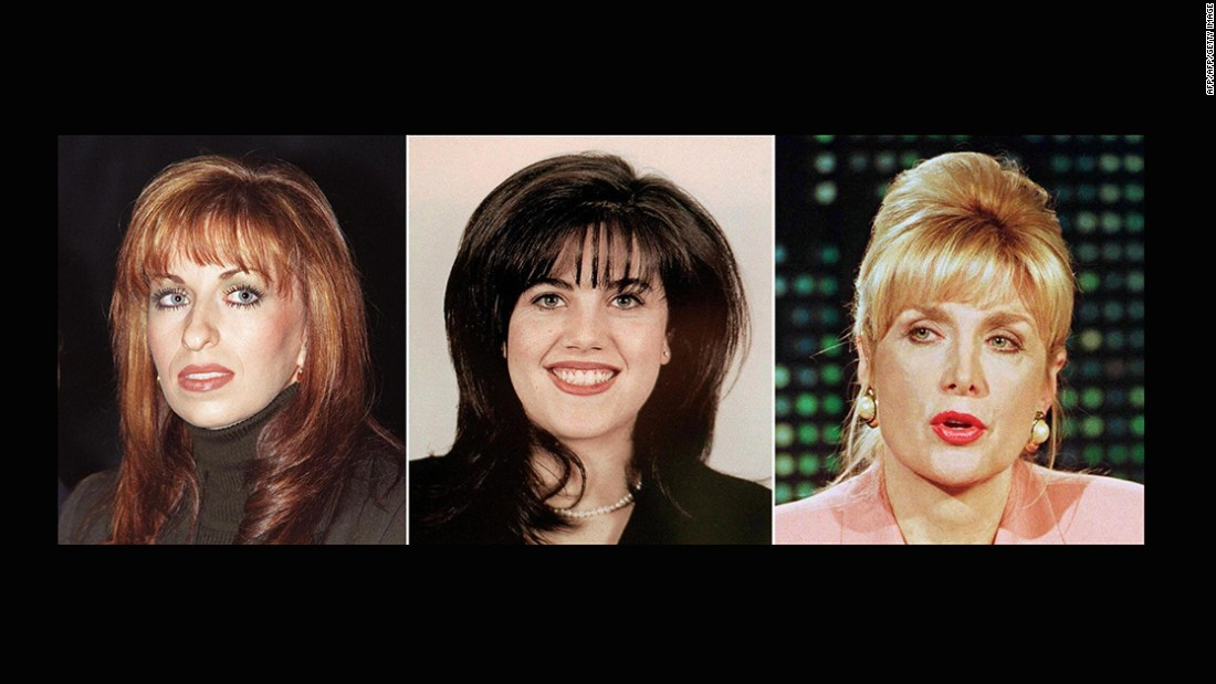 "The women involved in the sex scandals: Paula Jones, left, who in 1994 accused former President Clinton of sexual harassment; Monica Lewinsky, center, the former White House intern with whom former President Clinton admitted to having an ""inappropriate relationship"" and Gennifer Flowers, right, who claimed in 1992 to be then-presidential candidate Bill Clinton's lover."