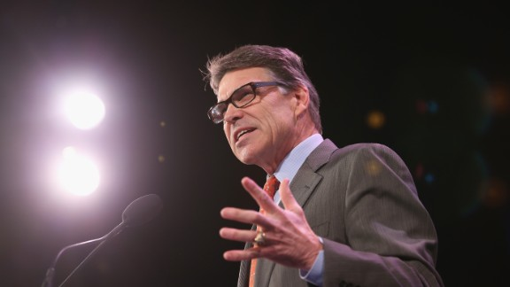 Former Texas Governor Rick Perry speaks to guests at the Iowa Freedom Summit on January 24 in Des Moines, Iowa. The summit is hosting a group of potential 2016 Republican presidential candidates to discuss core conservative principles ahead of the January 2016 Iowa Caucuses.
