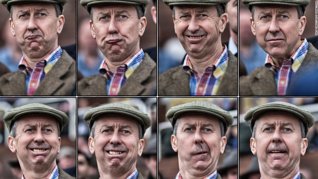 The agony and ecstasy of a day at the track can best be summed up by the facial expressions of the crowd. Here, a racegoer at Cheltenham Festival in England gives his rubber-faced reactions a workout -- though, we're still not sure if the final outcome was good or bad.