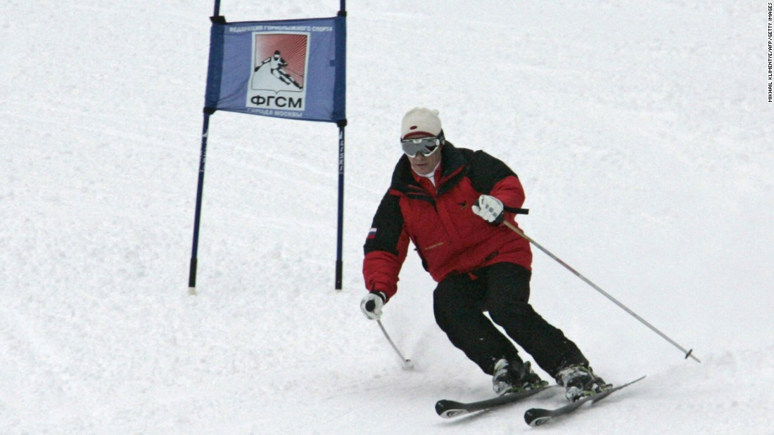 Putin skis in Krasnaya Polyana, Russia, in February 2008.