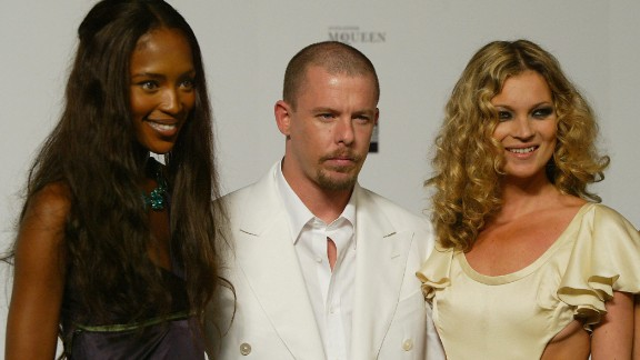 Alexander McQueen with close friends Naomi Campbell and Kate Moss.
