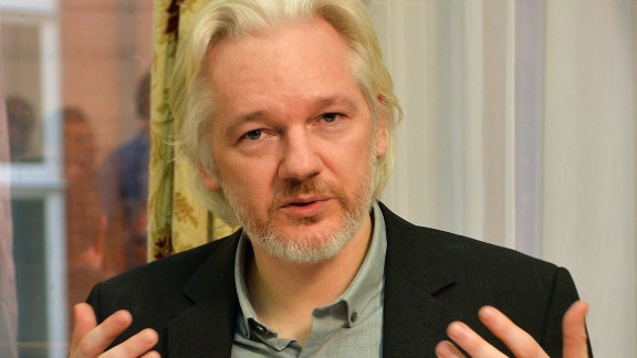 This file photo shows WikiLeaks founder Julian Assange during a press conference inside the Ecuadorian Embassy in London on August 18, 2014.