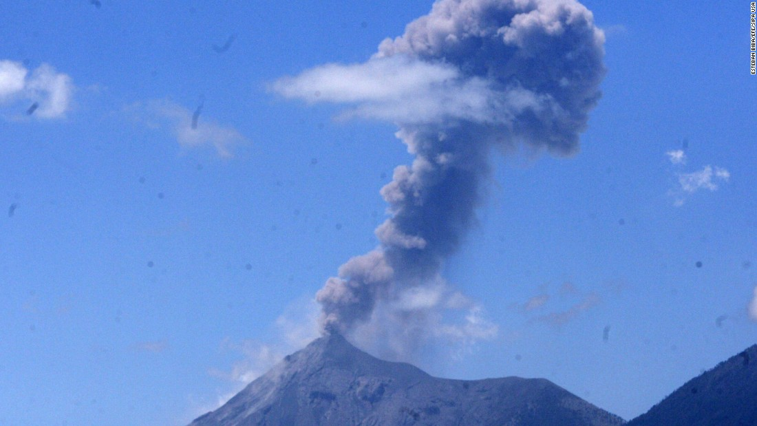 The Fuego volcano spews a cloud of ash west of Guatemala City, Guatemala, in March 2015.