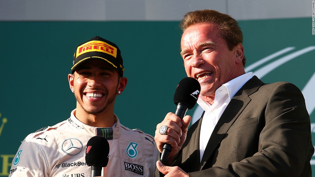 F1 star meets movie star as Lewis Hamilton is interviewed after his Australia GP triumph by Arnold Schwarzenegger.