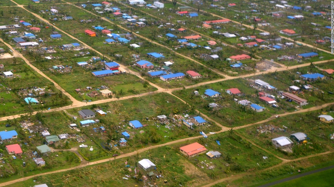 An aerial photo taken by CARE Australia on March 15 shows the widespread damage caused by the cyclone in Vanuatu.