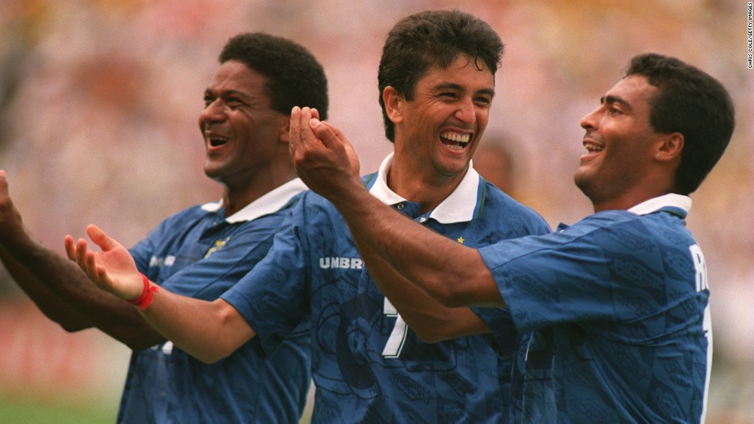 "An altogether more wholesome celebration was Brazil striker Bebeto's  ""rock the baby"" routine at the 1994 World Cup.<br /><br />Bebeto's wife had given birth to the couple's third child a matter of days before so what better way to mark the occasion than by rocking the imaginary cradle? Teammates Romario and Mazinho, who are pictured either side of Bebeto, quickly joined in.<br /><br />The celebration soon became the standard way for goal-scoring footballers to mark the birth of their children."