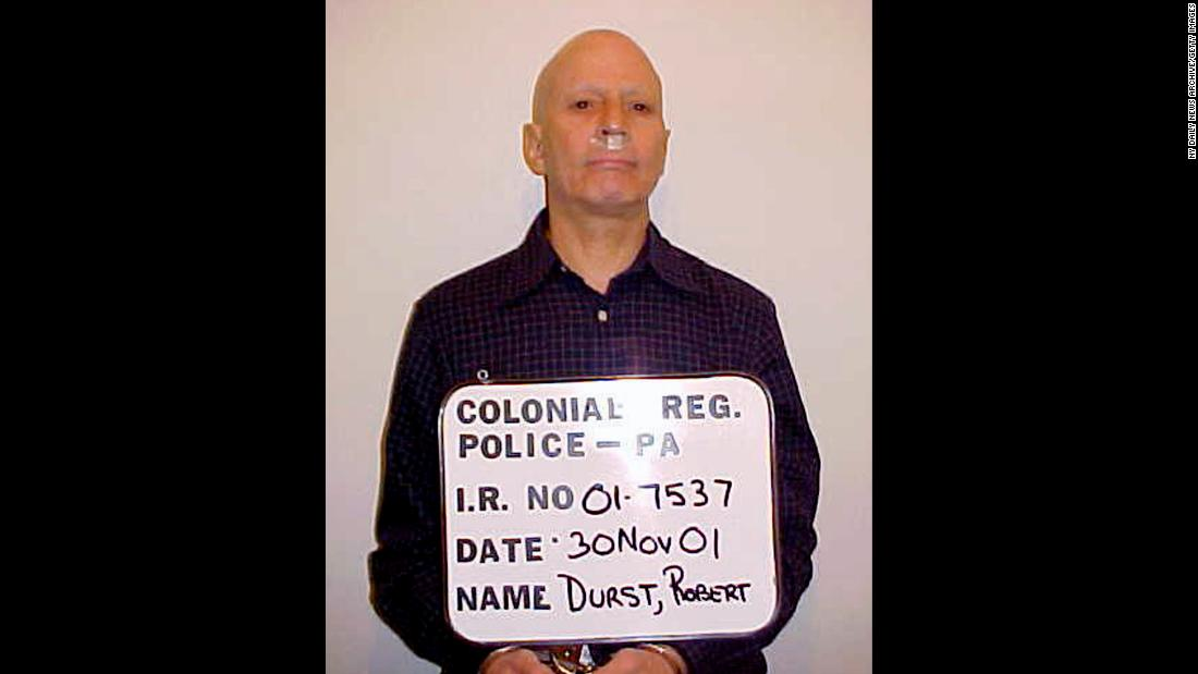 Durst's police booking photo in November 2001, after he jumped bail and was arrested in Pennsylvania. Durst was captured for shoplifting a sandwich even though he had hundreds of dollars in his pocket.