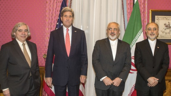 Kerry, second from left, meets Iranian Foreign Minister Mohammad Javad Zarif, second from right, for talks in Lausanne, Switzerland, on Monday, March 16. At the far left is U.S. Secretary of Energy Ernest Moniz. At the far right is Ali Akbar Salehi, head of Iran's Atomic Energy Organization.
