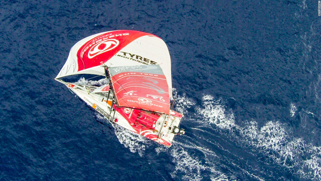A birds-eye view captured from a GoPro camera attached to a drone of the Dongfeng Race Team as they compete in the 2014-15 Volvo Ocean Race.