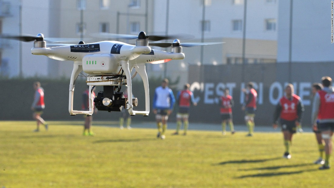 In rugby, drones have been used to improve player and tactical analysis. Here, the ASM Clermont Auvergne rugby squad take part in a training session as a drone films their every move.