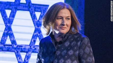 Former Israeli justice minister and HaTnuah party leader Tzipi Livni arrives to deliver a speech during an election campaign meeting in Tel Aviv, on January 25, 2015 ahead of the March 17 general elections. Oposition Labour party head Isaac Herzog and Livni have made an alliance to contest Israel's snap general election. Most Israelis would like to see Prime Minister Benjamin Netanyahu replaced after March elections but, paradoxically, he is seen as most suitable for the job, an opinion poll said on December 18, 2014. (Jack Guez/AFP/Getty Images)